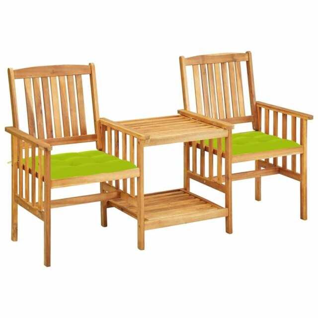 Sedie da Giardino con Cuscini e Tavolino in Massello di