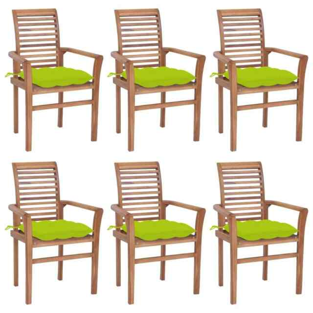 Sedie da Pranzo 6 pz e Cuscini Verde Brillante Massello di